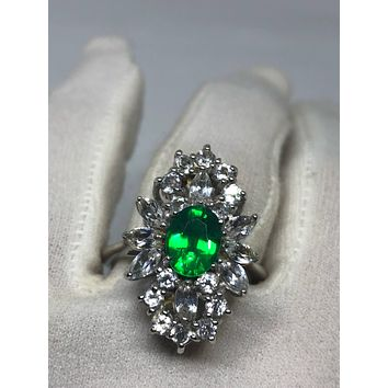 Vintage Handmade Genuine Green Flourite White Sapphire Filigree Setting 925 Sterling Silver Gothic Ring