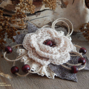 Beautiful Handmade Brooch. Yarn Knitted Boho Brooch. Popular items for handmade brooch, handmade brooch
