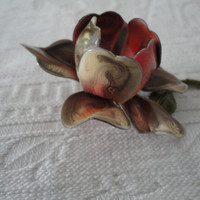 Vintage Metal Enamel Rose Petal Brooch Pin