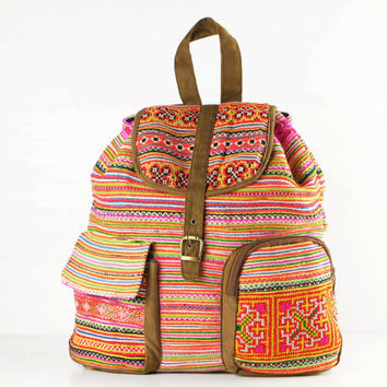 Hippie Leisure Backpack Vintage Ethnic Embroidered Textile Teen Backpack School Backpack College Bag