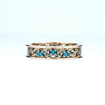 Teal diamond filigree ring made from rose and white gold, blue diamond ring, filigree engagement ring, blue wedding, unique ring, teal ring