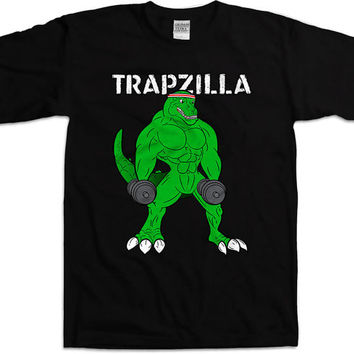 Funny Workout Shirt Trapzilla Weight Lifting Shirt Gym Clothing Workout Gifts Training T Shirt Fitness Tops Athletic Tee Mens Tee WT-174