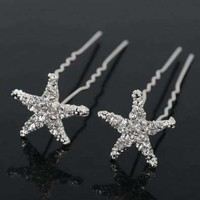 ON SALE - Small Crystal Encrusted Starfish Silver Plated Hair Pins