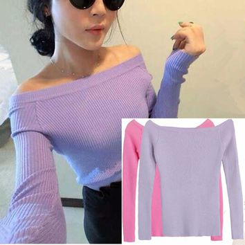Sweater Spring Autumn Christmas Women Pullover Flat/Off Shoulder 19 Colors Sweater Women Pull Femme Sweaters Plus Size M/L
