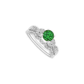 Emerald and Diamond Engagement Ring with Wedding Band Set : 14K White Gold - 0.90 CT TGW