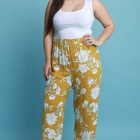 Contrast Floral Palazzo Pants