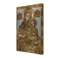 Mother Mary Christ Child Gold Lithograph 1872 Canvas Print