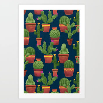 Terra Cotta Cacti Art Print by Noonday Design