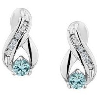 Amazon.com: Aquamarine Infinity Earrings with Diamonds 1/4 Carat (ctw) in Sterling Silver: Jewelry