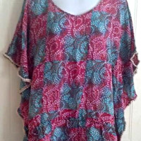 TOLANI Silk Top/Swimsuit Cover-up or Tunic Blouse Drawstring Women's Size Small