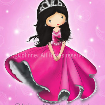children wall art , Princess pink room decor , nursery art print for girl, etsy kids art prints, pink or purple