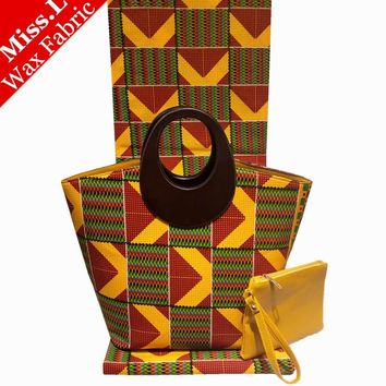 New Wax Handbag Sets! 2017 Most Popular African Wax Bags With With 6 Yards Real Veritable Hollandais Wax Fabric For Sewing