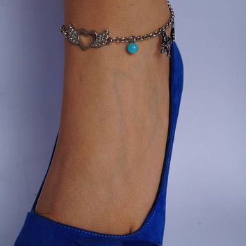 Turquoise Blue Bead Angel Wing Anklet, Angel Butterfly Silver Turquoise Charm Anklet, Beach Ankle Bracelet, Boho Chain Anklets, Charm Anklet