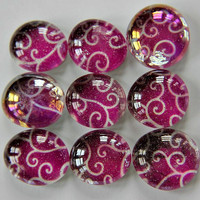 Set of 9 Purple Scroll Magnets or Pushpins by littlebiteverything