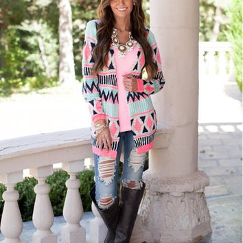 Geometric Print Long Sleeve Cardigan
