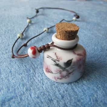 Oriental Chinese Ceramic Bird Bottle Painted Necklace. White And Pink pendant. Ceramic Art, Handmade.from china