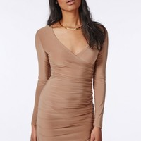 Missguided - Slinky Ruched Wrap Dress Camel
