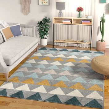 7027 Gray Gold Abstract Contemporary Area Rugs