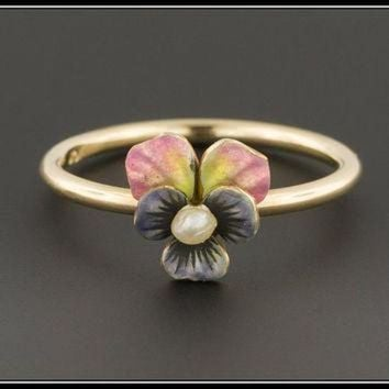 DCCKHD9 10k Gold Pansy Ring| Enamel & Pearl Pansy Flower Ring | Antique Pin Conversion Ring |