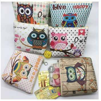 The new 2017 European and American wind cartoon owl wallet Han edition boutique children's PU zero wallet to receive package