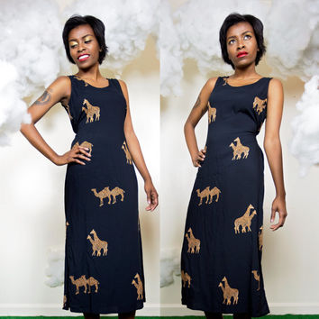 camel & giraffe dress / animal print long african dress / long black maxi dress / 90s rayon ethnic maxi dress