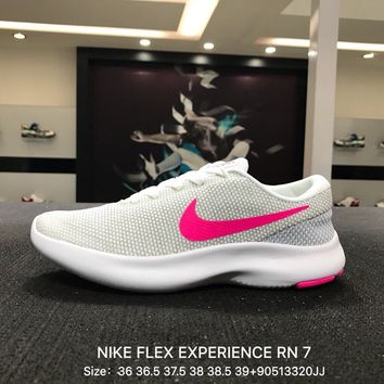 Nike Flex Experience RN 7 Women Gray Pink Sports Running Shoes - 908996-101