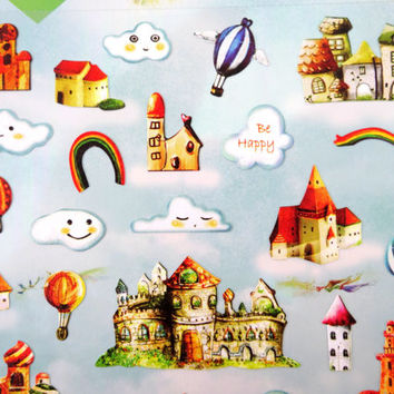 Castle and cloud kawaii stickers - rainbows and hot air ballons - cute cloud emoticon faces - fairytale - whimsical paper stickers - fantasy