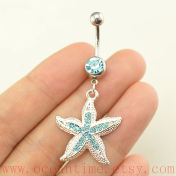 belly ring,starfish Belly Button jewelry, starfish belly button rings,blue diamond Navel Jewelry,nautical bellyring friendship belly jewelry
