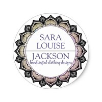 Lavendar And Charcoal Grey Decorative Monogram Classic Round Sticker