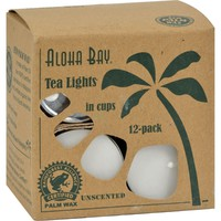 Aloha Bay Unscented Palm Wax Tea Lights with Aluminum Holder - 12 Candles