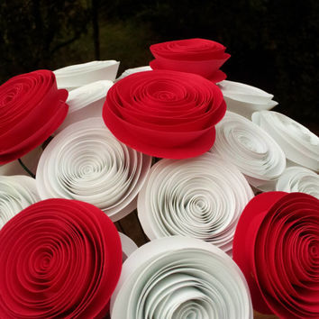 "20 Red and White Alice in Wonderland ""Painting the Roses Red"" Handmade Paper Flower Bouquet for Brides, Weddings, Showers, Birthdays"