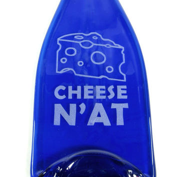 Cheese N'At Sandblasted Wine Bottle Cheese Tray by Mitchell Glassworks Pittsburgh - Fast Shipping / Pittsburghese