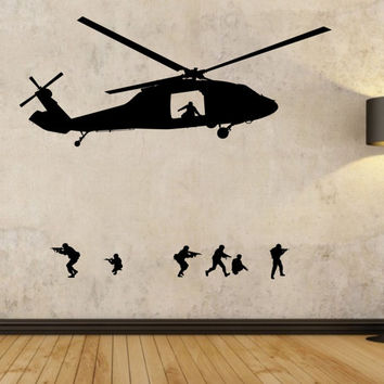 Army Helicopter Wall Decal Sticker Art Decor Bedroom Design Mural interior design soldie family home decor room decor