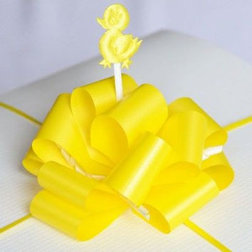 Yellow Ducky Pull Bow Baby Shower Instant Large Bow Present Gift Wrap Ribbon
