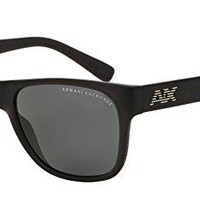 Armani Exchange Mens Sunglasses (AX4008) Black Matte/Grey Plastic - Polarized - 56mm