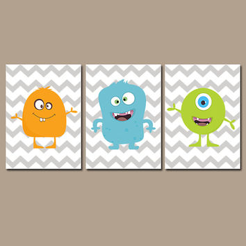 MONSTER Wall Art, CANVAS or Prints Monsters Theme, Monster Pictures, Blue Green Orange Chevron Set of 3 Monster Boy Bedroom Decor