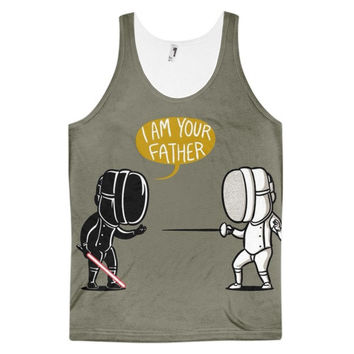 I Am Your Father Star Wars Darth Vader And Luke Skywalker Dye Sublimation All Over Print 3D Full Print Cotton Polyester Unisex Novelty Gray White & Black Tank Top