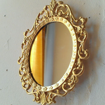 Fairy Princess Mirror in Tiny Bright Gold Vintage Frame