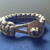 Green Paracord Bracelet with Japanese yen coin
