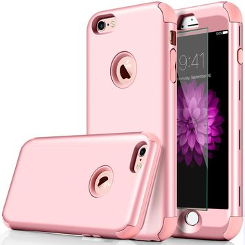 """iphone 6 Case, DUDETOP 3-in-1 Shockproof Scratch-Resistant Resist Cracking Armor Protective Cover Easy Grip Design with Tempered Glass Screen Protector for Apple iphone 6s 4.7"""" Inch ( Rose Gold )"""