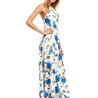 White Halter Neck Floral Print Sleeveless Maxi Dress