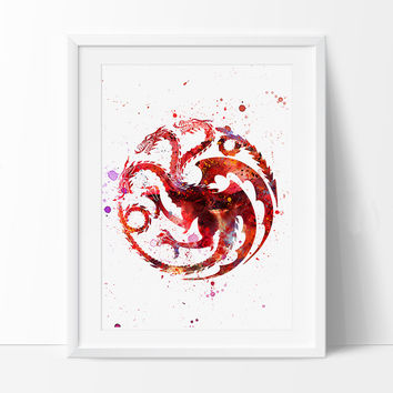 Game Of Thrones Art Print, House Targaryen Watercolor Print, Movie Poster Wall Art Decor, Game Of Thrones Illustration (66)