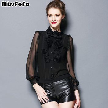 Spring Body Shirt Autumn Blouse Fashion Slim Ruffle Bow One Piece Women Tops Formal Long Woven Solid Floral