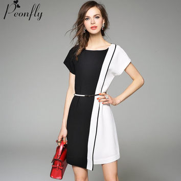 Summer Patchwork Ladies Office Dress 2015 Fashion O -Neck Sheath Bodycon Women Business Casual Dresses  Vestido Clothing