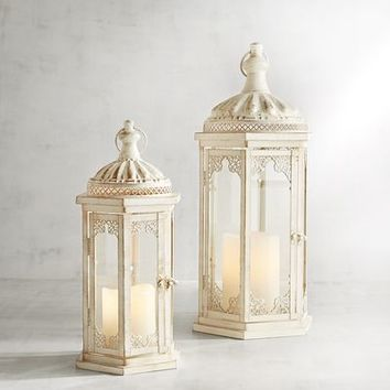 Whitewashed Metal Lanterns
