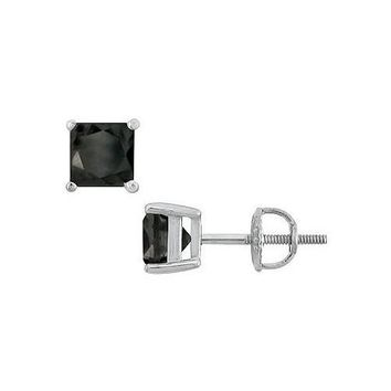 14K White Gold Prong Set Square Onyx Stud Earrings 4.00 CT TGW.