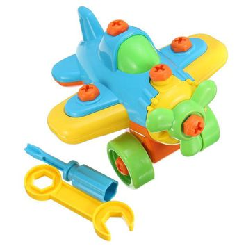 DCCKL72 New DIY Disassembling Small Plane Building Blocks Children Assembled Model Tool clamp With Screwdriver Educational Toys