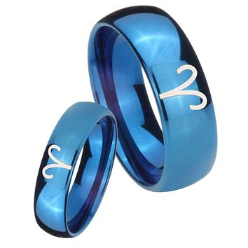 Bride and Groom Aries Zodiac Dome Blue Tungsten Mens Anniversary Ring Set