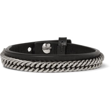 Givenchy - Leather and Silver-Tone Bracelet