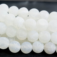 natural white agate dragon vein beads - white crackle agate gemstone beads - white jewelry beads - white beads supplies - size 6-14mm-15inch